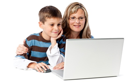 Mom with son on laptop