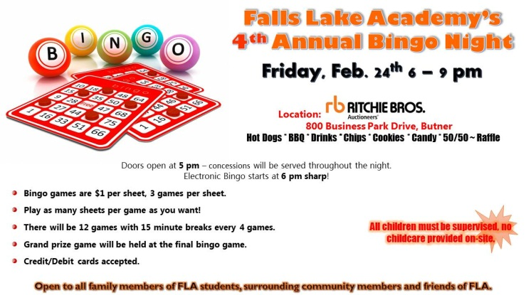 Falls Lake Academy Bingo Night | Event List View (For Meeting
