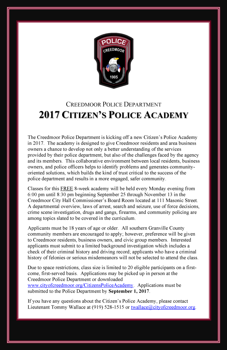 Enroll Today for the Citizens Police Academy Fall Session