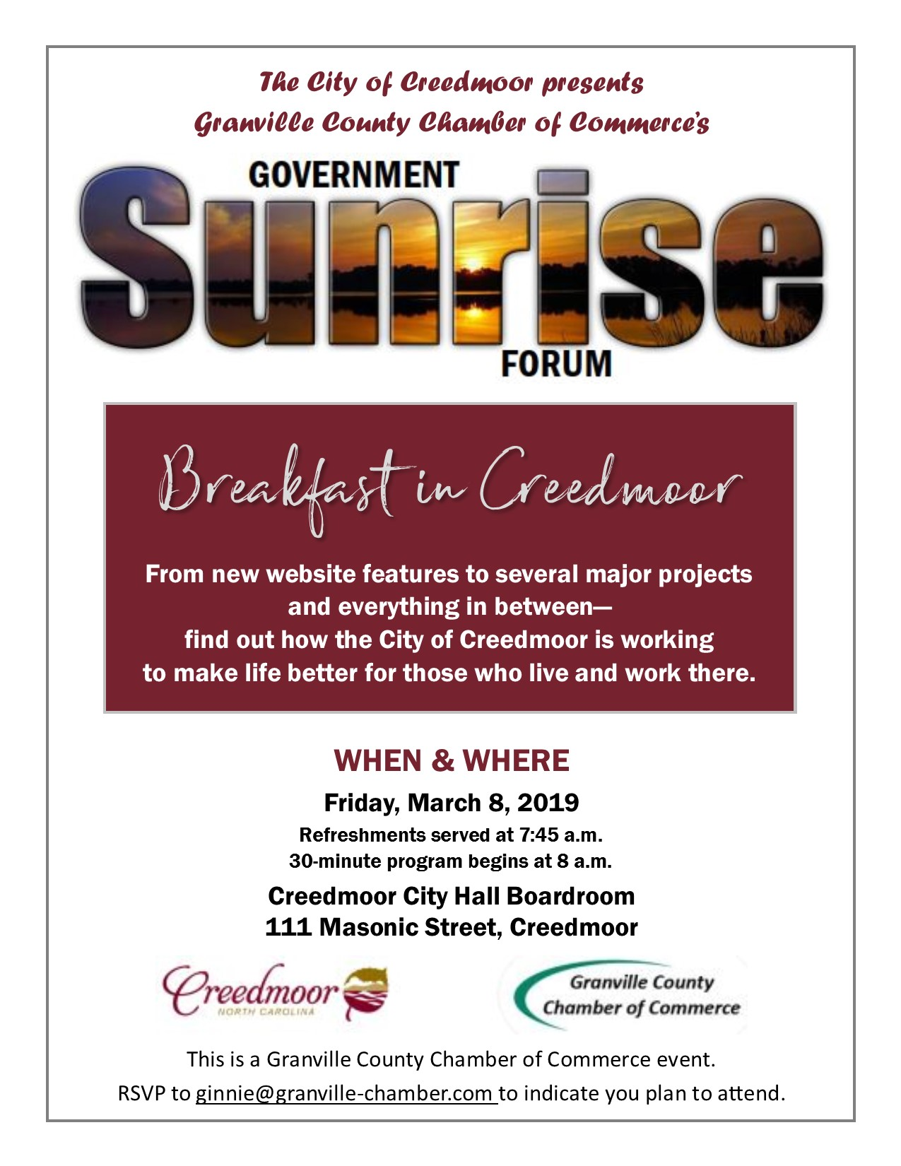 a82e9903a32 Chamber of Commerce Sunrise Forum
