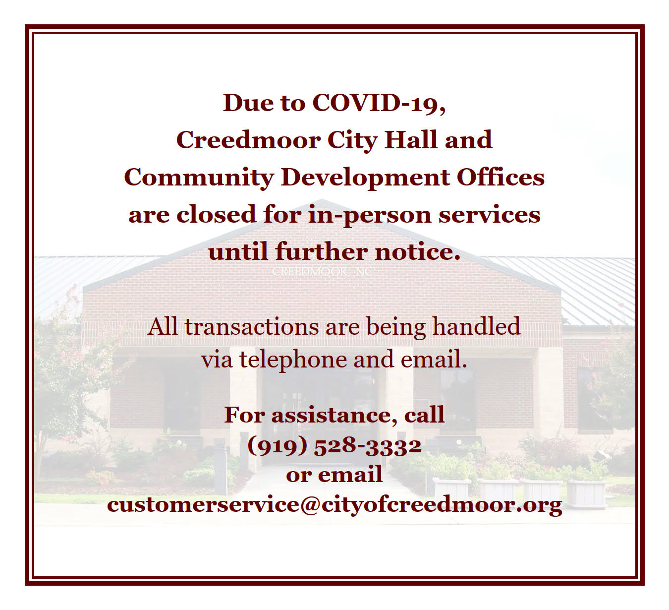 Website Announcement for COVID-19